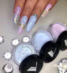 Nail Shapes - My Cool Nail Designs Glam Nails, Dope Nails, Fancy Nails, Bling Nails, Beauty Nails, My Nails, Hair And Nails, Glitter Nails, Acrylic Nail Shapes