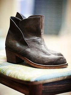 Brooks Ankle Boot | Distressed leather ankle boots, featuring Spanish craftsmanship, chunky wooden heels, and cool split leather design with hidden interior gussets.  *By Free Peopl