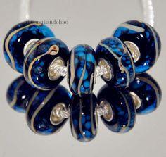 one glass European charm bracelet bead - blue swirl hand painted lampwork beige