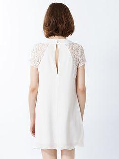 White Lace Paneled Chiffon Dress   Choies