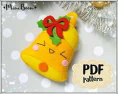 This is a digital tutorial on how to make the Christmas Bell ornament from felt Included step by step instructions, pictures and full size pattern pieces. (no need to enlarge or resize). Its completely hand sew and you dont need a sewing machine. THIS IS NOT A FINISHED TOY. THIS IS A PDF