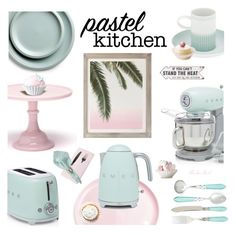 """""""Pastel Kitchen"""" by theseapearl ❤ liked on Polyvore featuring interior, interiors, interior design, home, home decor, interior decorating, Crate and Barrel, Mosser Glass, Jars and Michael Aram"""