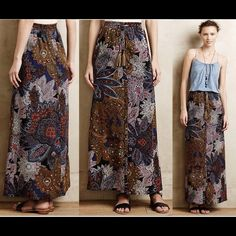 "Anthropologie Petaled Paisley Maxi Skirt, S, NWT Brand New  - Sold Out Anthropologie Petaled Paisley Maxi Skirt Retail $128 Style No. 34303354 Color: Blue Motif Size: Small  By Vanessa Virginia Slim maxi silhouette Elastic waistband with leather tasseled drawstrings Front center buttons Side pockets Polyester; polyester lining Hand wash Imported Regular: 41""L Imported Anthropologie Skirts Maxi"