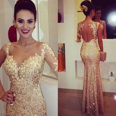 Cheap 2015 Evening Dresses - Discount Sparking Gold Fitted Evening Dresses 2015 Lace Appliques Sheer Long Sleeve Open Back Sequin Prom Dress Party Ball Glitzy Pageant Gowns