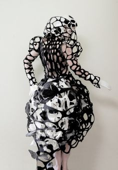 Wearable Art - layered black and white felt dress with cut out patterns and sculptural silhouette; 3D fashion // Catherine O'Leary