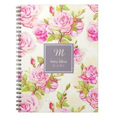 #Custom Floral Pattern Old Rose Monogram Notebook - #birthday #gift #present #giftidea #idea #gifts