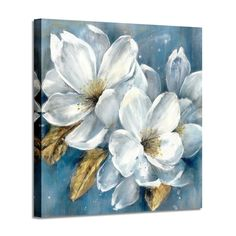 Abstract Floral Artwork Canvas White Flower Bloom Painting Graphic Picture Wall Art for Living Room - Close-up image of several always in bloom white flower & gold foils pistil painting, with blue back - Abstract Canvas Wall Art, Diy Canvas Art, Acrylic Painting Flowers, Abstract Flowers, Floral Artwork, Flower Canvas, Picture Wall, Living Room, Fashion Forever