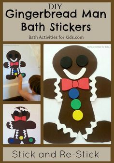 Bath Activities for Kids: DIY Gingerbread Man Bath Stickers Creative Activities For Kids, Craft Activities, Crafts For Kids, Kids Diy, Christmas Gingerbread, Noel Christmas, Christmas Presents, Preschool Christmas, Christmas Activities