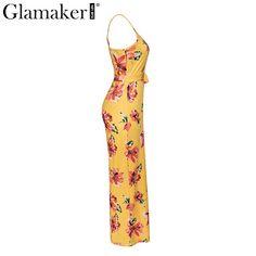 dfd88260882 Glamaker Flower print  sexy summer jumpsuit  romper  Women deep v neck  stripe long