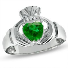 Zales Men's Lab-Created Emerald Claddagh Ring in White Gold with Diamond Accents Irish Rings, Celtic Wedding Rings, Couple Jewelry, Emerald Jewelry, Silver Jewelry, Silver Ring, Claddagh Rings, Size 10 Rings, White Gold Diamonds