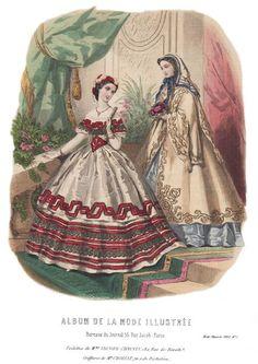 1862. evening dress and cape, De La Mode Illustrée