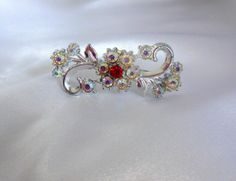 Vintage AB and Red Rhinestone Brooch by VJSEJewelsofhope on Etsy, $20.00