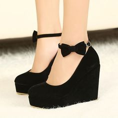 825d5dd8c8d GIFT Round Toe Bow Wedges High Heel Platform Flat Oxford Casual Creeper  Shoes in Clothing
