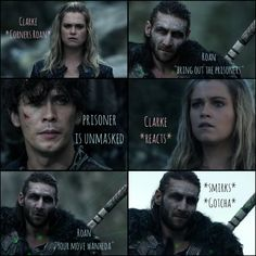 Bellarke Chronicles of Roan: This episode demonstrates Roans mastership of #Bellarke . Once again, he just seems to get it, and uses that love against them. And Bellamy's face when he sees Clarke? #BeautyAndPain all at once. If he doesn't love Clarke, someone has to tell #BobMorley to stop making Bellamy look at Clarke as if he does. The same goes for #Eliza. #Clarke ALWAYS shows her weakness for Bellamy, no matter how fleeting, ITS ALWAYS THERE.