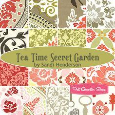 fabric Tea Time Secret Garden Fat Quarter Bundle - Sandi Henderson for Michael Miller Fabrics