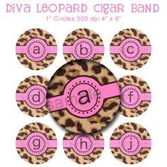 Diva Leopard Cigar Band Alphabet Bottle Cap 1 Inch Circle Brown Pink