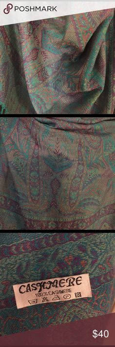 100% cashmere scarf/wrap A paisley/Moroccan pattern of teals, purples & red/oranges. Just lovely. Big enough to wear as a swimming sarong. Accessories Scarves & Wraps
