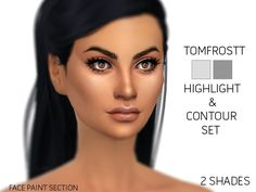 A highlight and contour set with 2 shade options. Found in TSR Category 'Sims 4 Female Costume Makeup'