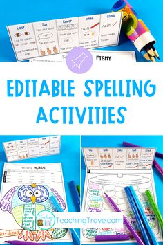 Quickly make spelling centers for your first, second or third grade students. With a choice of 49 activities that you can edit to include the spelling words your students need, you'll have spelling activities ready to use in no time. Use the included spelling list ideas or your own. Add the spelling visual to the center and have your students mastering their spelling with ease. #spelling #spellingactivities