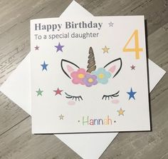Unicorn Birthday Girl Card Handmade And Personalised 3rd 4th 5th Teens Adults