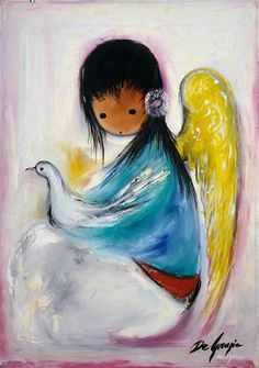 """DeGrazia's angels, """"Untitled - Angel with Dove"""", oil on canvas. DeGrazia Gallery in the Sun open daily from free admission. - un encanto Native American Pictures, Native American Art, Southwest Art, Painting Wallpaper, Mexican Art, Angel Art, Sacred Art, Amazing Art, Illustration Art"""