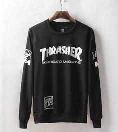 Mens Black Cool Street Wear Thrasher Sweatshirt