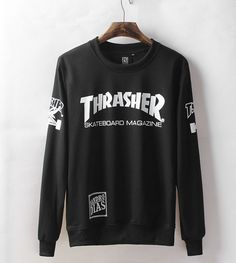 Mens Black Cool Street Wear Thrasher Sweatshirt