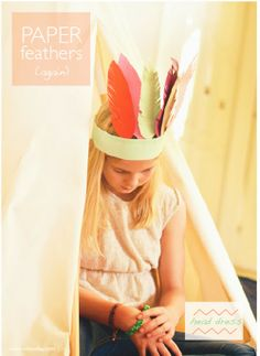 Make Paper Feather Head dress with tutorial and PDF template