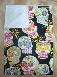 Day of the dead punk rockabilly skulls baby blanket by saaridesign
