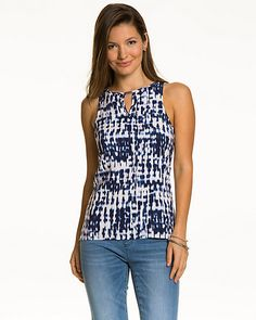 We gave this challis notch-collar top a #brushstroke print to give it it's unique appeal.