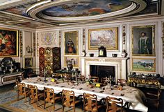The Dining Room of Queen Mary's Doll House, Windsor Castle ~ lavishly appointed for entertaining on a grand scale. The inventory includes 48 champagne glasses, 24 oyster forks, 24 finger bowls and two pairs of asparagus tongs