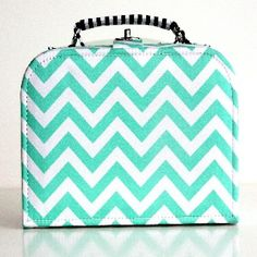 Green Chevron Storage Cases Small - $24.95 - Elephant in the trunk has designed these fabulous storage cases that are fun and stylish for any child's room and perfect for travelling. The small size is available in the pink or green chevron prints. #sweetcreations #kids #bedroom #nursery #decor #storage #elephantinthetrunk