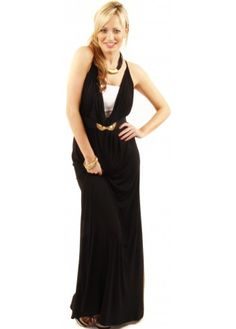 Reversible Black Scoop Neck Maxi Dress