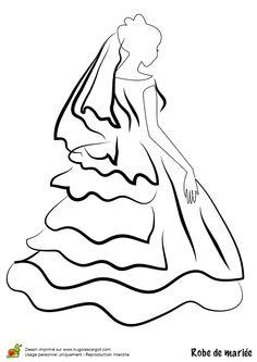Dessin/coloriage robe de mariée volants dans le dos et voile