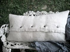 Linen pillows from Full Bloom Cottage White Pillows, Linen Pillows, Decorative Pillows, Bed Pillows, Handmade Pillows, Custom Pillows, Linen Bedding, Pillow Arrangement, Linens And Lace