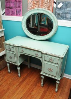 Chicago: Mint Green Vanity Desk and Mirror $399 - http://furnishlyst.com/listings/365273