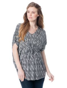 A Pea in the Pod Black/White Elbow Sleeve V-neck Caftan Maternity Top