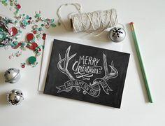 Carte de 2013 Limited Edition carte de Noël - joyeux Noël - carte Antler - vacances Chalkboard - tableau de 5 x 7