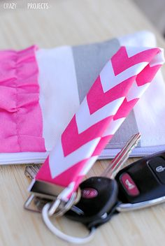 Key fob: glue the fabric together instead of seeing it, fold it in half and use pliers to squeeze on the metal key fob.