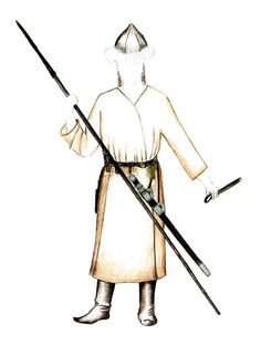 Reconstruction of Avar male clothing, cca 8th cebtury AD.