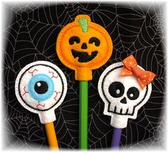 Halloween Pencil Toppers Set 3 FELT STITCHIES (in the hoop)