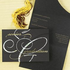 Black Die-Cut Announcement with Refractive & Gold Foil Accents This exciting black announcement features a refractive and gold foil front design