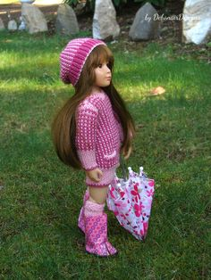 """Hand-knitted outfit for 18"""" Kidz N' Cats dolls by Debonair Designs"""