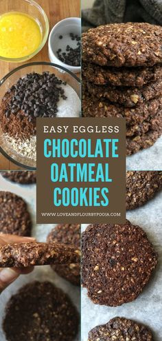 Oats and lots of chocolate together spells a cookie that's hard to resist! This Eggless Chocolate Oatmeal Cookie balances between health and taste perfectly. The chocolate chips melt to create a delightful fudgy, soft & chewy texture. The recipe is easy & is pretty straightforward too and needs only a few kitchen staple ingredients namely Instant oats, flour, sugar, butter, cocoa, chocolate chips, etc. Head over to read the full recipe on my blog. Instant Oatmeal Cookies, Chocolate Oatmeal Cookies, Cocoa Chocolate, Chocolate Chips, Healthy Baked Snacks, Healthy Baking, Easy Baking Recipes, Cookie Recipes, Apple Crumble With Oats