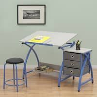 This Studio Designs Comet Center 13321 craft desk comes with a stool and features angle adjustments from flat up to making it easy to find a comfortable position when creating art. Six floor levelers ensure stable placement. Drawing Desk, Fabric Drawers, Craft Station, Craft Desk, Adjustable Desk, Hobbies And Crafts, Blue Grey, Cool Things To Buy, Stool