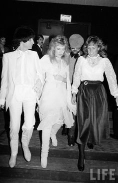 Stevie ~ ☆♥❤♥☆ ~ attending the 10th Annual American Music Awards at Shrine Auditorium in Los Angeles, 1983; Mick Fleetwood was also there, but Stevie arrived with her own entourage of then-fiancé Kim Anderson, producer Jimmy Iovine, background singers Sharon Celani, Lori Perry, Lori's husband Gordon Perry and personal assistant Rebecca Alvarez; Stevie was nominated for Favorite Pop/Rock Female Artist but lost to Olivia Newton-John