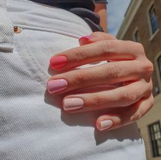 Heard Of The Skittles Manicure? Harry Styles Is A Fan : Heard Of The Skittles Manicure? Harry Styles Is A Fan Taste the rainbow Cute Nails, Pretty Nails, Fancy Nails, Pretty Short Nails, Hair And Nails, My Nails, Pink Gel Nails, Short Gel Nails, Gradient Nails