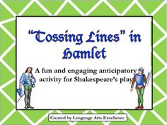 """This product features a fun and engaging pre-reading activity for Hamlet called """"Tossing Lines."""" Give your students a chance to become familiar with the lines before they even begin reading the play. This is a prediction activity that encourages critical thinking and actually gets students excited to start reading Shakespeare!  Product Includes:  - Comprehensive Lesson Plan - 24 Unique """"Tossing Lines"""" cards tailored to Hamlet  I hope you enjoy this activity as much as I do!"""