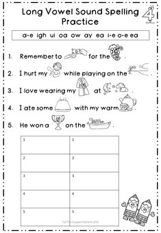 Eight fun worksheets to practice and consolidate long vowel sounds. Use the picture clues to complete the sentences. All magic e sounds included. Long Vowel Worksheets, Spelling Practice, Long Vowels, Vowel Sounds, Phonics Activities, Word Work, Literacy Centers, Sentences, It Hurts