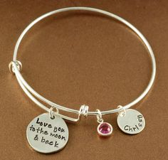Birthstone And Name Bracelet For Mom Or Grandma Larger Charm Is Inscribed Love